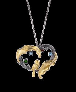 Designers Favorites halskæde hjerte med lille fugl