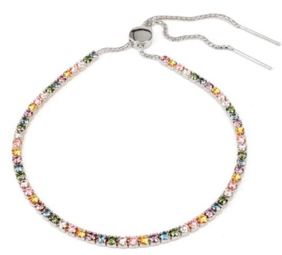 Tennisarmbånd i Sterling sølv med pastelfarvede sten og flot glidelås fra Aqua Dulce