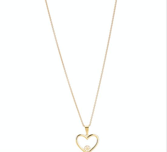 Kæde med hjerte og 1 Marguerit fra Lund Copenhagen
