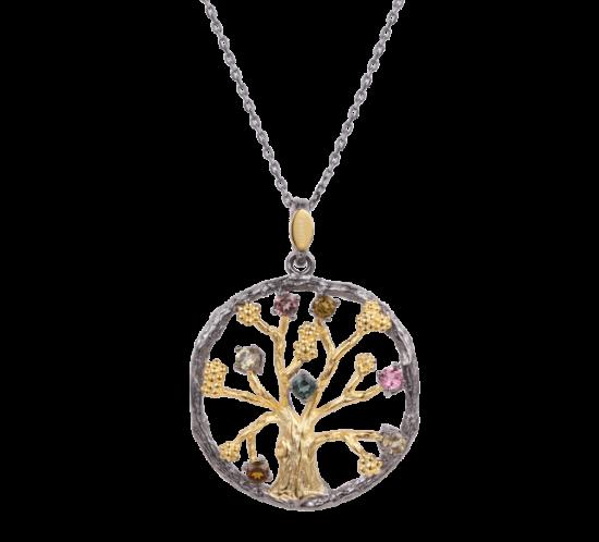 Designers Favorites Halskæde Stor - Livets træ med forskellige farvet turmaliner