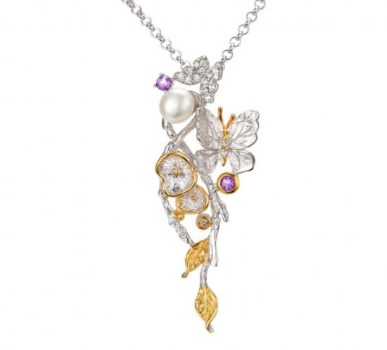 Designers Favorites Halskæde med perle, ametyst og blå topas - Fortryllende Skov