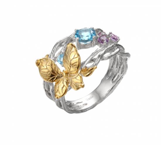 Ring med sommerfugl og ægte farvet sten fra Designers Favorites