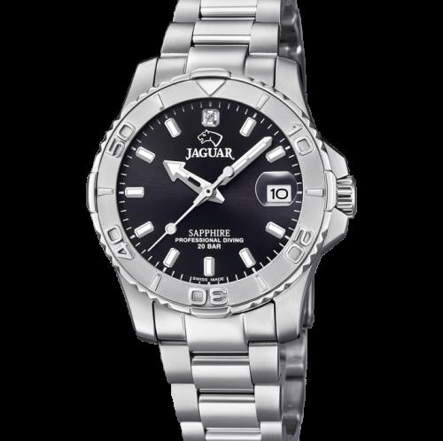 Dame Jaguar ur med sort skive og stål
