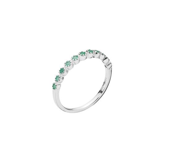 Alliance hvidgulds ring med smaragd fra Lund Copenhagen