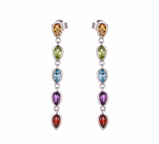 Rainbow Øreringe med Citrin, Peridot, Blå Topas, Ametyst og Granat fra Designers Favorites
