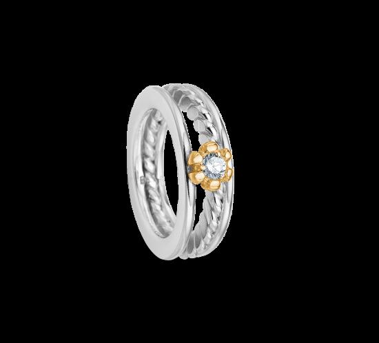 Blomster ring med zirconia I guldfatning fra Randers Sølv