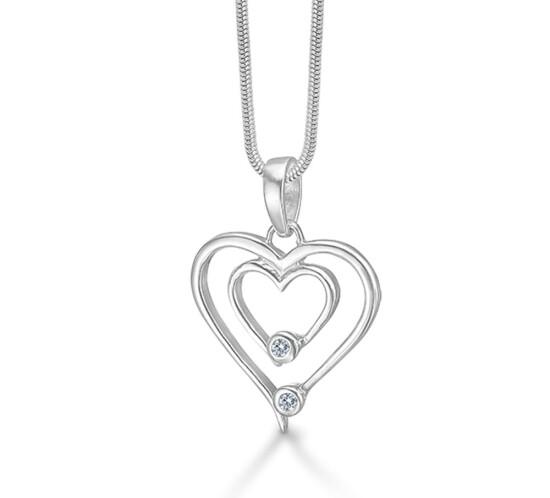 Hjerte vedhæng med zirkonia fra Randers Sølv