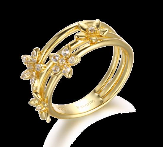 Designers Favorites forgyldt ring med blomster
