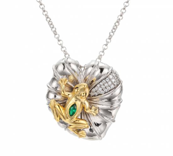Fortryllede frø halskæde med grøn spinel og hvide topaser fra Designers Favorites