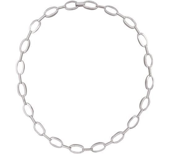 Sølv rhodineret collier oval fra Nordahl Andersen