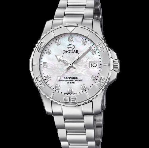 Dame Jaguar ur med perlemors skive og stål lænke