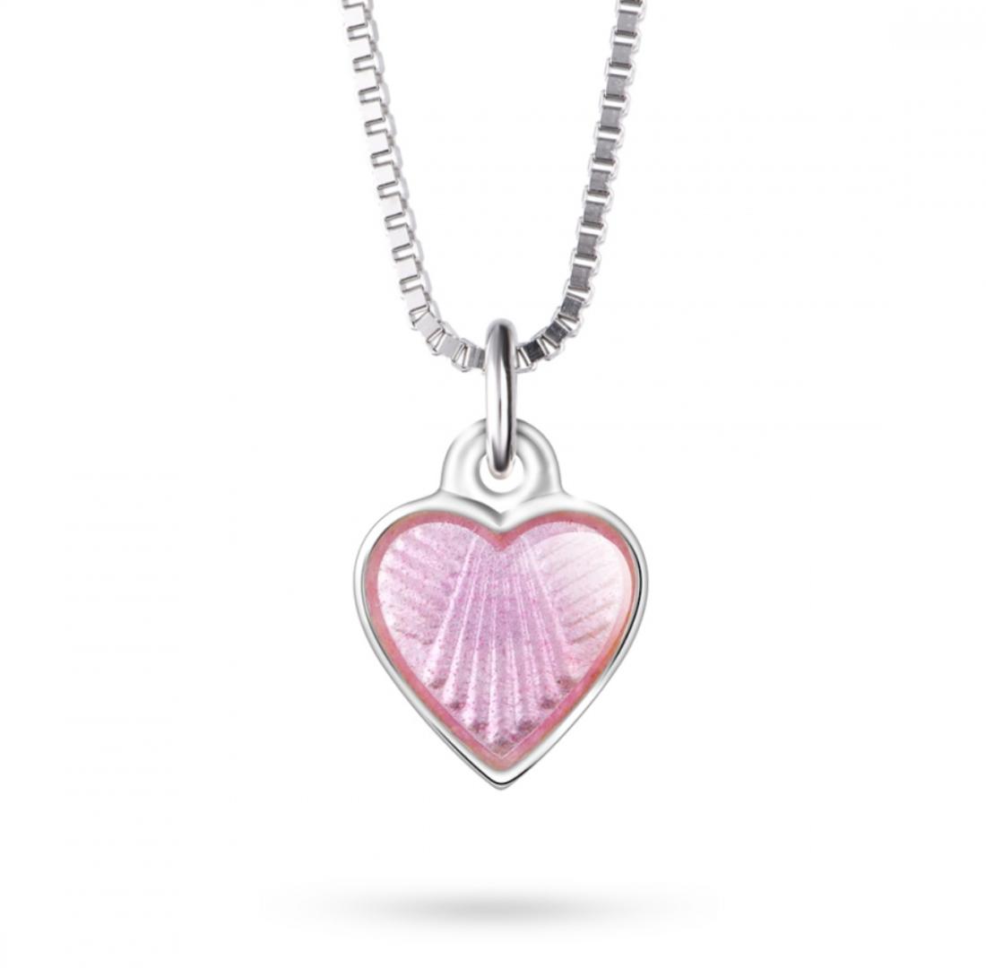Børne halskæde - lyserød hjerte - Pia og Per