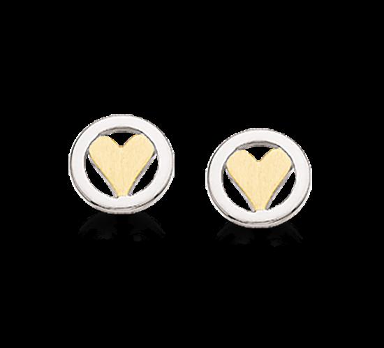 ørestikker sølv cirkel med forgyldt hjerte fra Scrouples