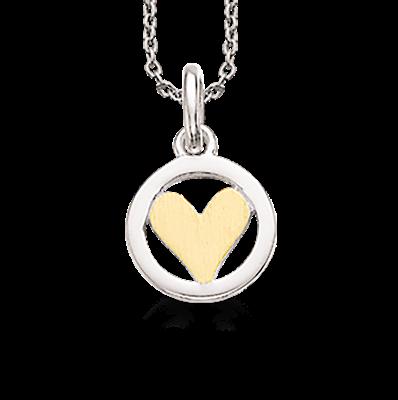 Halskæde - Scrouples sølv cirkel med forgyldt hjerte
