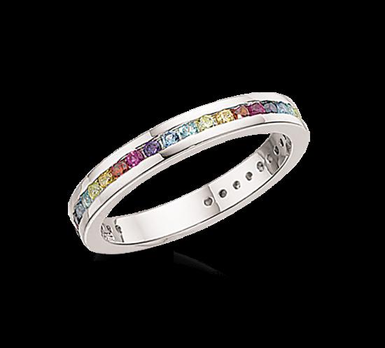 Ring med forskellig farvet sten i sølv fra scrouples