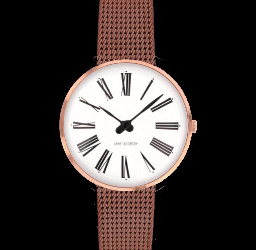 Arne Jacobsen - Roman ur med kobber farvet mesh lænke