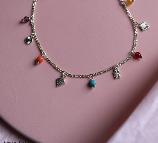 Sabine Sølv armbånd med farvet sten